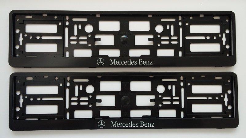 Pair black mercedes benz car registration licence plate for Mercedes benz number plate holder